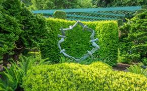 Картинка зелень, деревья, птицы, дизайн, парк, Канада, Ванкувер, скульптура, кусты, Butchart Gardens