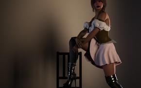 Картинка девушка, поза, фон, стул
