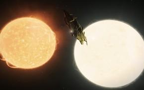 Картинка корабль, Игра, Elite: Dangerous, Двойная звёздная система, KRAIT PHANTOM