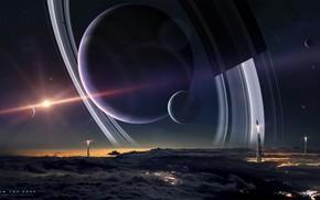 Картинка Солнце, Облака, Ночь, Планета, Космос, Звезда, Планеты, Clouds, Planets, Star, Ракеты, Space, Кольца, Спутник, Запуск, …