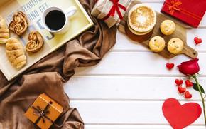 Картинка любовь, подарок, розы, завтрак, красные, red, love, heart, выпечка, romantic, coffee cup, valentine's day, круассаны, …