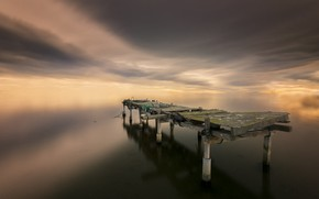 Картинка море, мост, природа