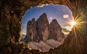 Картинка окно, горы, природа, арка, солнце