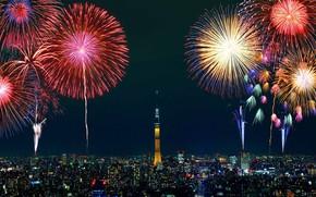 Картинка город, салют, Токио, фейерверк