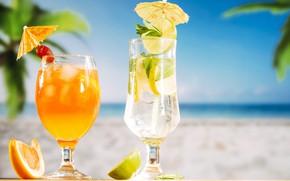 Картинка лед, пляж, лето, сок, напиток, коктейли