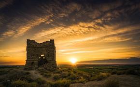 Картинка поле, закат, природа, руины