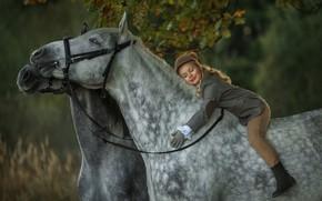 Картинка осень, настроение, кони, всадница, лошади, девочка, наездница