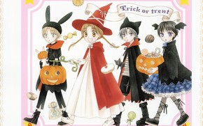 Картинка улыбка, ботинки, сладости, Halloween, косички, ушки, красный плащ, witch, шляпа ведьмы, trick or treat, юбка …