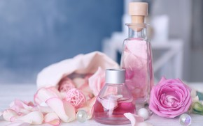 Картинка масло, розы, духи, лепестки, флакон, аромат, petals, roses, бутылочка, perfume, oil, bottle, aroma