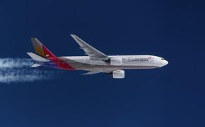 Картинка Самолет, Boeing 777, В полете, Инверсионный след, Asiana Airlines