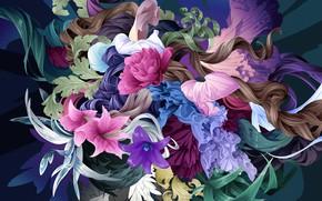 Картинка цветы, фон, узоры, текстура, арт