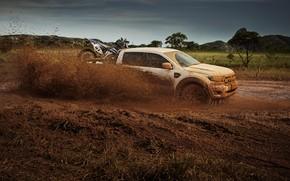 Картинка брызги, земля, Ford, грязь, в движении, пикап, Storm, Ranger, 2020