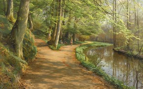 Картинка 1929, датский живописец, Петер Мёрк Мёнстед, Peder Mørk Mønsted, Danish realist painter, Дети у реки, ...