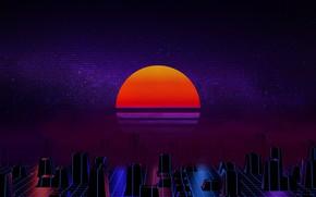 Обои Солнце, Музыка, Звезда, Фон, 80s, Neon, 80's, Synth, Retrowave, Synthwave, New Retro Wave, Futuresynth, Синтвейв, ...