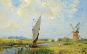 Картинка пейзаж, лодка, картина, парус, Уильям Миллер Фрейзер, William Miller Frazer, Прохладный день на канале