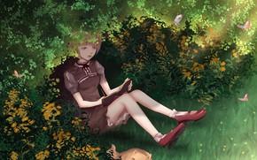 Картинка трава, кот, девушка, бабочки, блокнот, кусты, by CZY