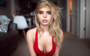 Картинка грудь, взгляд, волосы, Девушка, блондинка, плечи, Андрей Фирсов