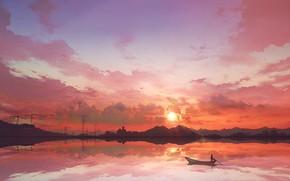 Картинка небо, закат, лодка