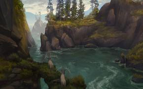 Картинка животные, пейзаж, природа, река, камни, скалы, арт, олени, иллюстрация