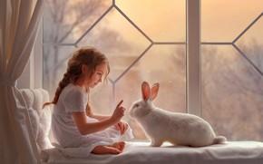 Обои настроение, кролик, окно, девочка, белый кролик