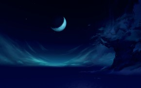 Картинка облака, пейзаж, ночь, дерево, луна