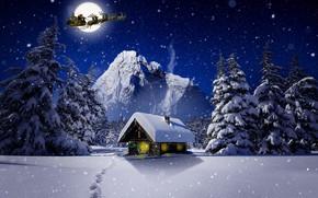 Картинка зима, Луна, Рождество, Санта, домик, олени