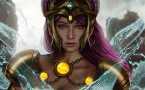 Картинка взгляд, вода, девушка, горы, фантазия, бог, арт, украшение, богиня