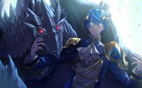 Картинка дракон, парень, Vocaloid, Вокалоид, Кайто