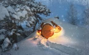 Картинка зима, небо, свет, снег, ветки, природа, дерево, праздник, волшебство, в снегу, вечер, дверь, Рождество, фонарь, …