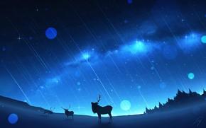 Картинка зима, млечный путь, олени, звездопад