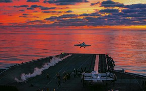 Картинка вечер, авианосец, полеты, Теодор Рузвельт