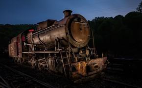 Картинка ночь, паровоз, железная дорога