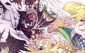 Картинка аниме, арт, существа, кости, скелет, Фэнтези, парни, позвонки