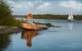 Картинка лето, девушка, поза, река, лодка, шляпа, Кристина, Andrey Metelkov