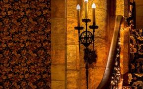 Картинка стена, свечи, светильник
