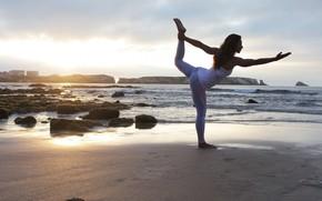 Картинка sunset, female, yoga