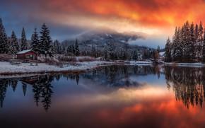 Картинка зима, закат, горы, озеро