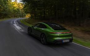 Картинка Porsche, Turbo S, лесная дорога, 2020, Taycan