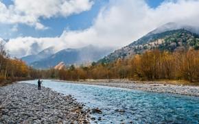 Картинка Природа, Облака, Горы, Река, Япония, Лес, Берег, Пейзаж, Фотограф