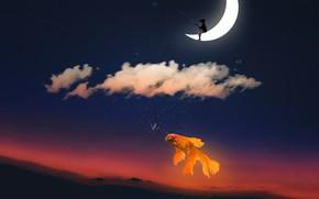 Картинка небо, облака, закат, луна, рыбалка, рыба, звёзды, месяц, мальчик, фэнтези, золотая рыбка, кепка, сидит, удочка, …