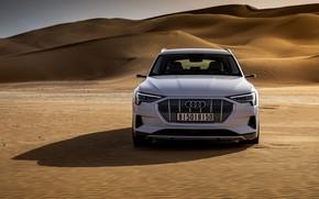 Картинка белый, Audi, пустыня, вид спереди, E-Tron, 2019