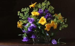 Обои яркий, лилии, букет, колокольчики