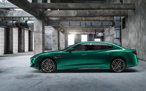 Картинка авто, зеленый, Maserati, Quattroporte, здание