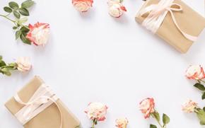 Картинка розы, лента, подарки, бутоны