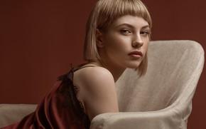 Картинка взгляд, девушка, лицо, фон, стрижка, кресло, макияж, Игорь Козлов