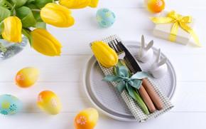 Картинка цветы, праздник, Пасха, сервировка