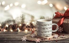 Картинка Рождество, чашка, горячий шоколад