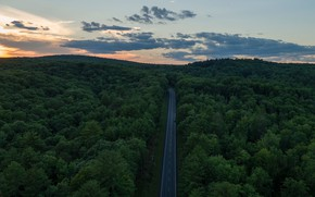 Картинка twilight, road, sky, trees, landscape, nature, sunset, clouds, hills, Forest