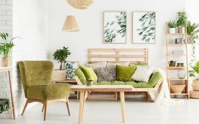 Картинка цветы, зеленый, подушки, картины, кушетка, люстры, лофт