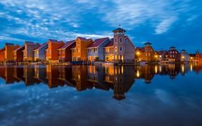Картинка вода, отражение, здания, дома, Нидерланды, Groningen, Гронинген, The Netherlands, Reitdiephaven